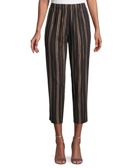 FORTE FORTE Masai Striped Metallic Cropped Pants in Black