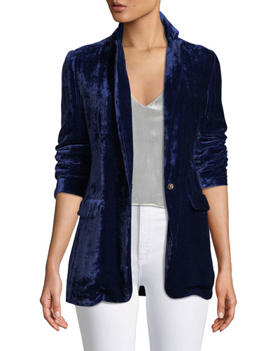Tailored Velvet Snap-Front Blazer Jacket