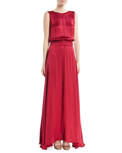 Satin V-Back Sleeveless Maxi Dress