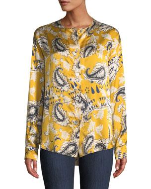 877eb2efaa06 Forte Forte Collarless Afrika-Print Silk Button-Front Shirt