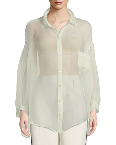 Oversized Silk Organza Button-Front Shirt