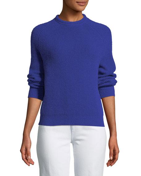 FORTE FORTE English-Knit Cashmere Crewneck Sweater in Bluette