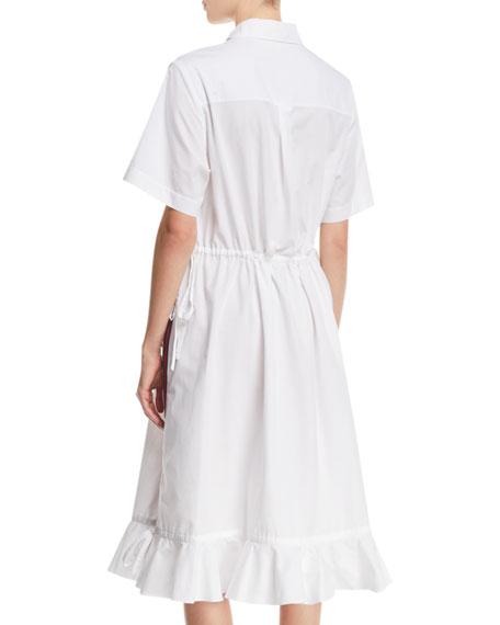 Striped Short-Sleeve Flounce Shirtdress