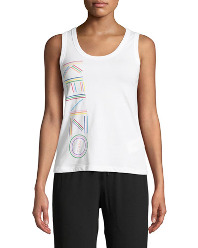 Sporty Scoop-Neck Logo Tank Top