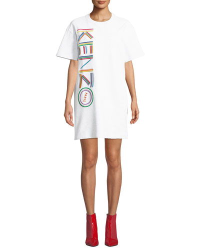 Embroidered Logo Crewneck Tee Dress