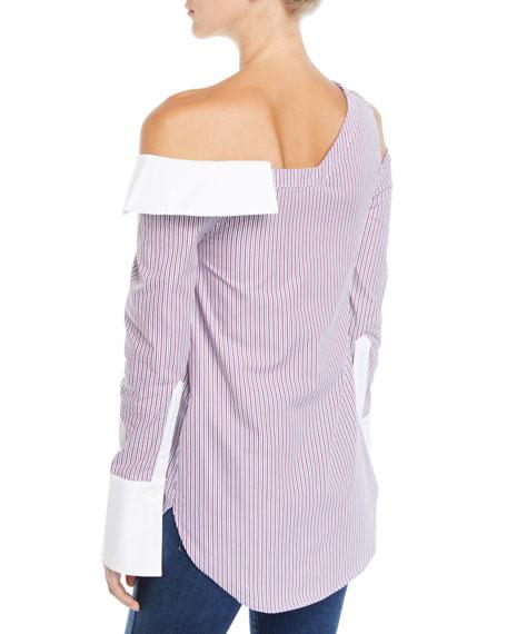 One-Shoulder Cutout Striped Button-Front Shirt