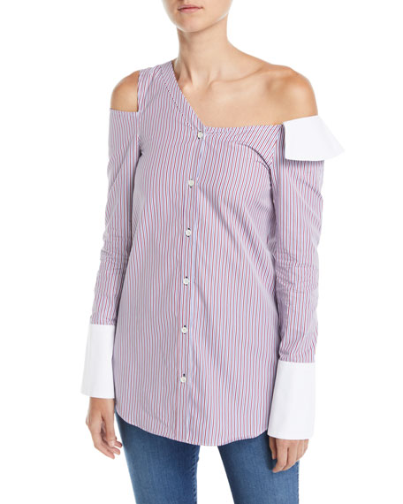 Monographie One-Shoulder Cutout Striped Button-Front Shirt
