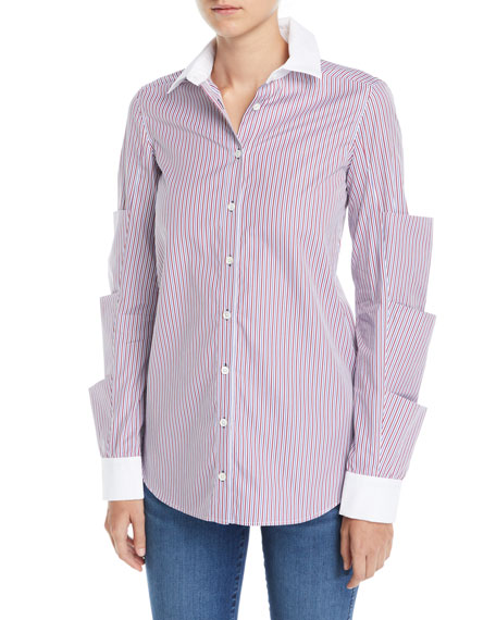 Monographie Striped Tiered-Sleeve Button-Front Poplin Top