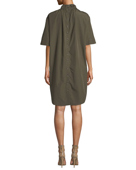 Elastic-Collar Short-Sleeve Shift Dress
