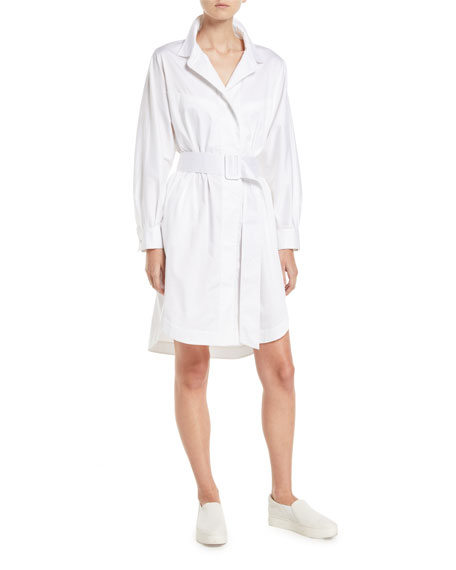 Belted Button-Front Long-Sleeve Shirtdress