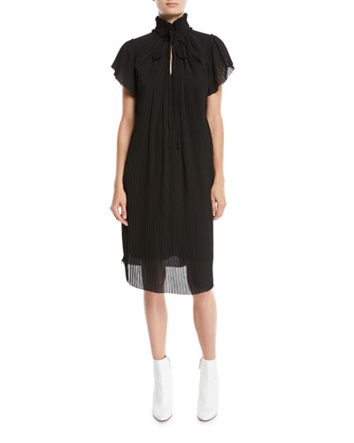 High-Neck Plisse Short-Sleeve Shift Dress