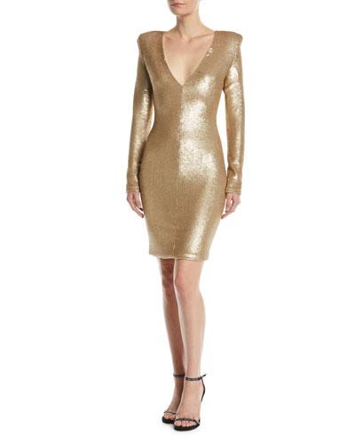 Poppy Long-Sleeve Sequin Sheath Dress