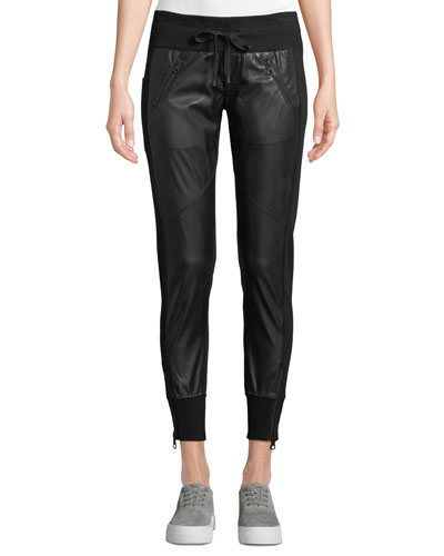 Faux-Leather Drawstring Jogger Pants