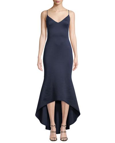 Armelle High-Low Neoprene Slip Dress