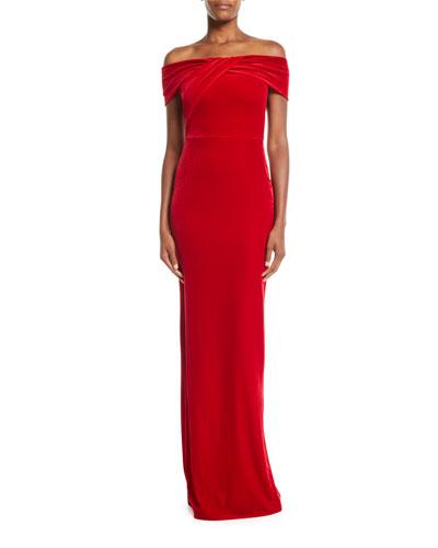 Liliana Off-the-Shoulder Velvet Gown