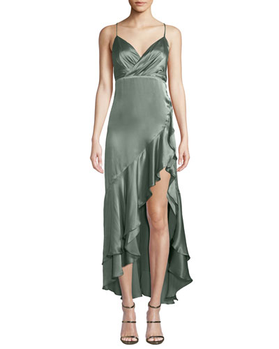 Bristol Satin Slip Dress w/ Asymmetric Hem