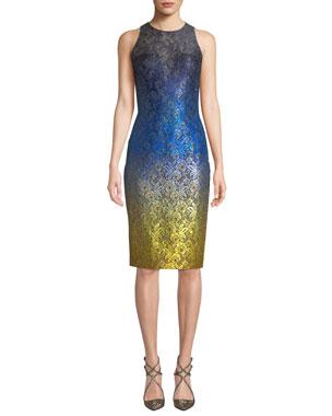 ce6c7acb8f Theia Sleeveless Ombre Dress w  Lace Yoke