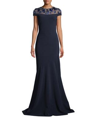 cd4c6d7e38 Theia Novelty Illusion Gown w  Paillettes