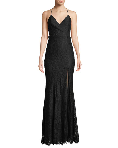 Fame and Partners Weiss V-Neck Strappy Lace Dress