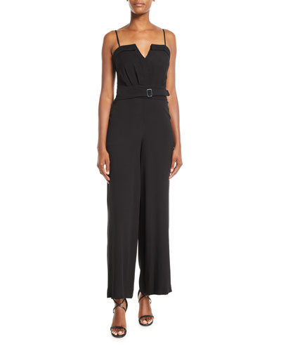 Faris Georgette Jumpsuit w/ Belted Waist