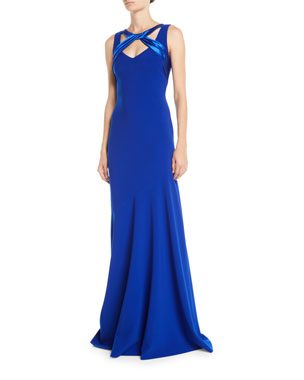 Theia Sleeveless Crepe Gown w  Satin Crisscross 4d55bb47f