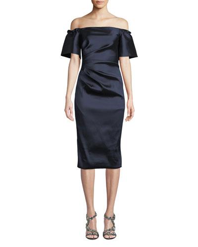 Off-the-Shoulder Stretch Taffeta Dress