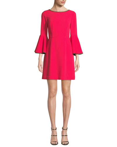 Bromely Trumpet-Sleeve Mini Dress
