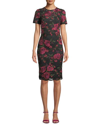 Ana Sofia Short-Sleeve Floral Lace Dress