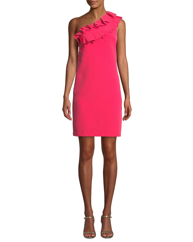 La Cruz Asymmetric One Shoulder Ruffle Dress