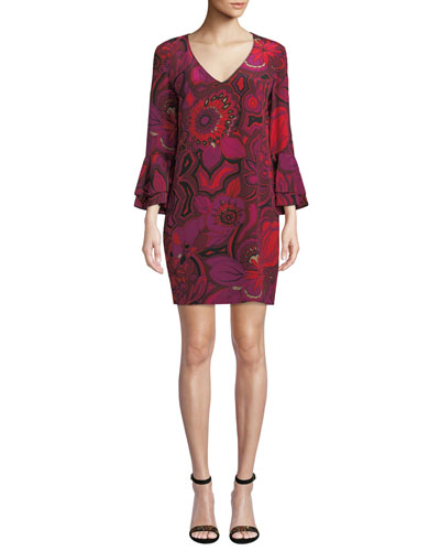 Freeda Floral-Print Silk Dress w/ Double-Trumpet Sleeves