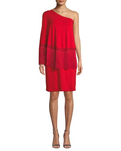 Eastside 1-Shoulder Popover Fringe Dress