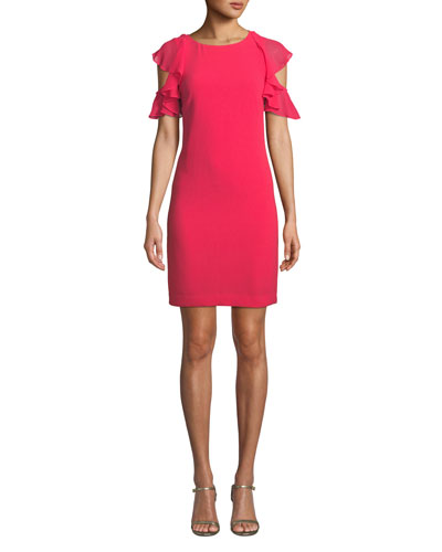 Amanda Mini Dress w/ Ruffle Cold Shoulders