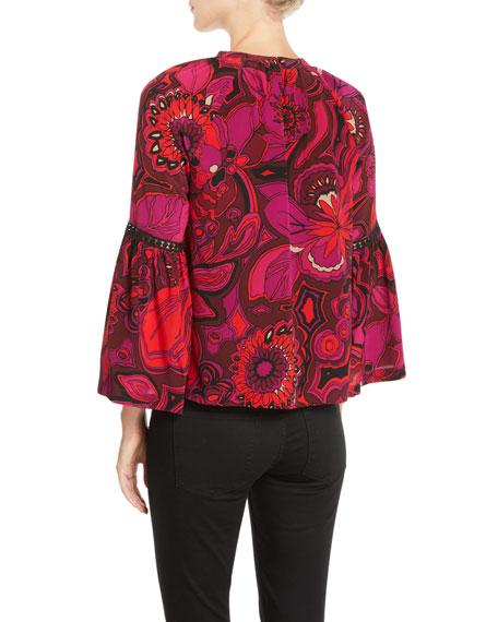 Brinley Bell-Sleeve Floral Silk Top