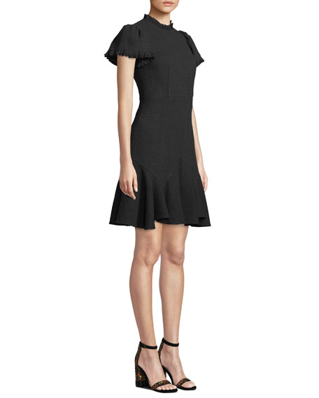 Short-Sleeve Ruffle Tweed Short Dress