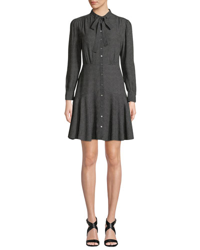 Tie-Neck Button-Front Long-Sleeve Sprinkle-Dot Silk Dress