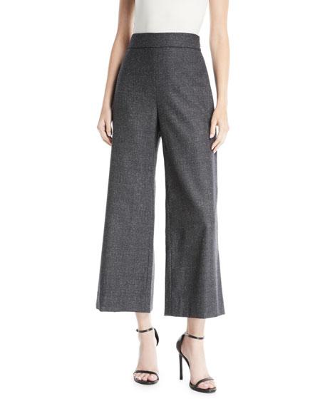 Wide Leg Crop Wool & Silk Blend Trousers, Gray