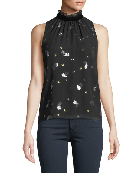 Sleeveless Scattered Tulip High-Neck Top in Black