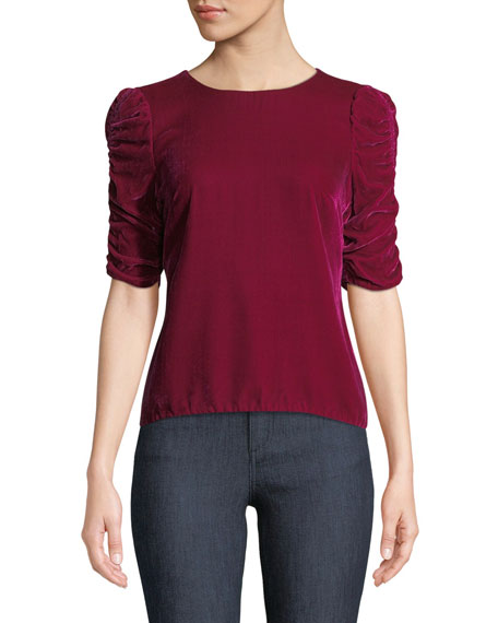 REBECCA TAYLOR Velvet Ruched-Sleeve Crewneck Top in Cranberry