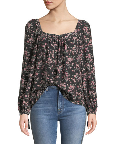 Tilda Floral Shirred Long-Sleeve Charmeuse Top