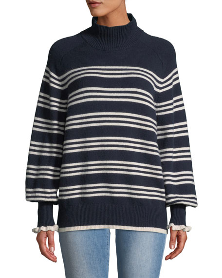 Striped Bishop-Sleeve Turtleneck Sweater