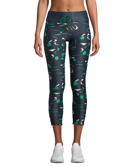 The Upside ABSTRACT CAMO DRAWSTRING MIDI LEGGINGS