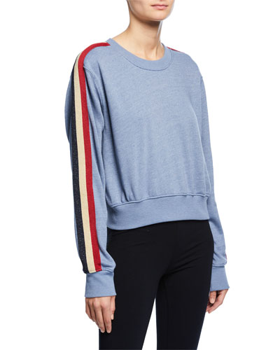 Crewneck Long-Sleeve Cropped Sweatshirt with Striped Sides
