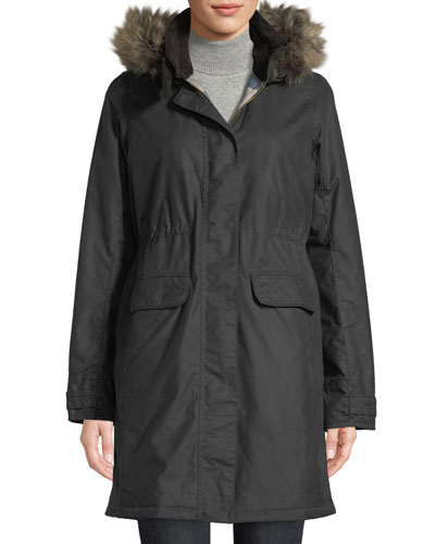 Galloway Waxed Jacket w/ Detachable Faux-Fur Hood