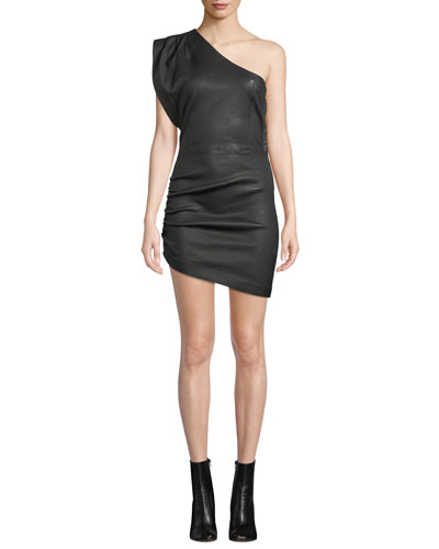Apria One-Shoulder Fitted Leather Mini Dress