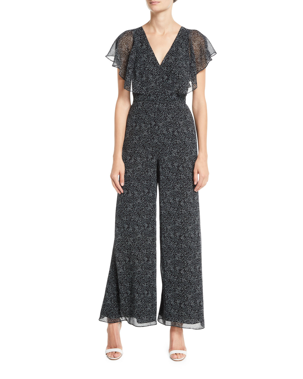 Fame And Partners Elena V Neck Jumpsuit W Flutter Sleeves Neiman