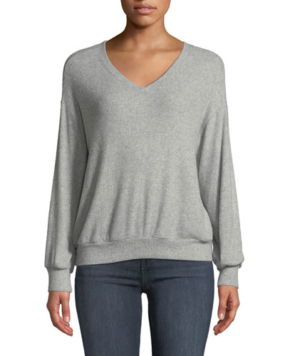 Parca Ribbed Long-Sleeve V-Neck Top