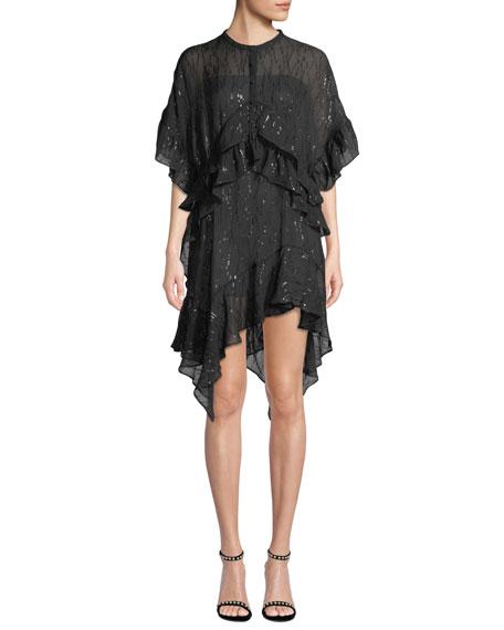 Iro Revolve Ruffle Metallic Asymmetric Dress