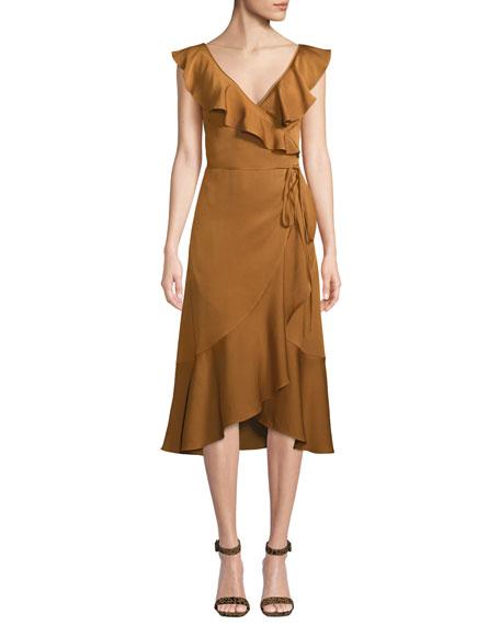 Fame and Partners Alexa Wrap Dress w/ Asymmetric