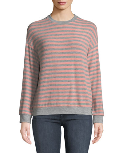 Landry Striped Long-Sleeve Crewneck Top