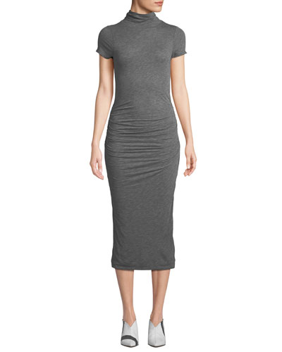 Valda Ruched High-Neck Midi Dress